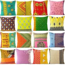"18"" COLORFUL KANTHA DECORATIVE THROW PILLOW CUSHION COVER Boho Bohemian Indian"