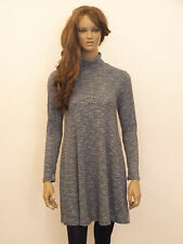 New womens Grey with black ribbed design fine knit short swing dress SIZE 8-16