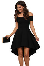 New Womens Sexy Off the Shoulder Black Skater Dress