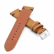 StrapsCo Vintage Distressed Tan w / Black Stitching Leather Band Watch Strap