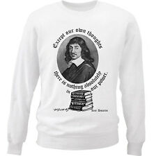 RENE'DECARTES OUR POWER QUOTE - NEW WHITE COTTON SWEATSHIRT