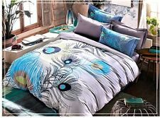 4pc. Peacock Feather Exotic Queen King Size 100% Cotton Duvet Cover Set