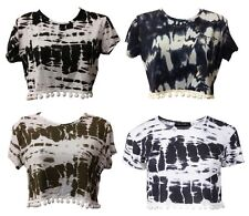 Ladies Tie Dye Print Crop Top Womens Pom Pom Short Cap Sleeve T-shirt Top