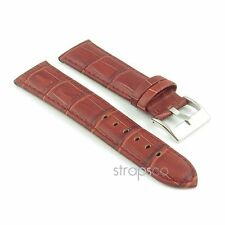 StrapsCo Crocodile Grain Embossed Strap Padded Mahogany Leather Watch Band