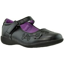 Girls Dress Shoes Mary Jane Flower Accent Closed Toe Shoes Black
