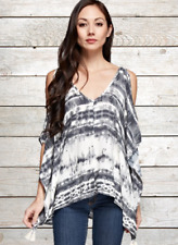 Lovestitch Hippie Boho Gray Black White Poncho Cold Shoulder Tassels Tunic Top