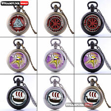 Antique Vinking Style Pocket Watch Vintage Quartz Necklace Retro Pendant Gift