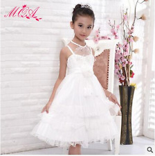 Girls Pretty Formal Cotton & Tulle Party Dress Weddings Bridesmaids/Flower Girl