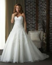 Sweetheart White/Ivory Organza Bridal Gown Wedding Dress Custom Size 6 8 10 12++