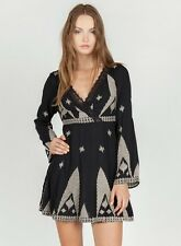 Monoreno Black Long Sleeve All-Over Embroidered Boho Tunic Top Dress