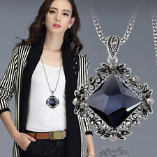 Women Retro Crystal Pendant Rhombus Rhinestone Beads Cluster Chain Necklace