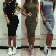 Sexy Womens Summer Short Sleeve Bodycon Cocktail Evening Party Slim Pencil Dress
