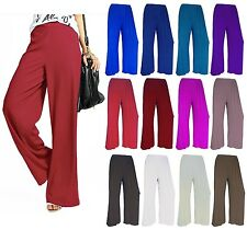 WOMENS LADIES CASUAL WIDE LEG FLARED PLAIN PALAZZO TROUSERS PANTS PLUS SIZE 8-26