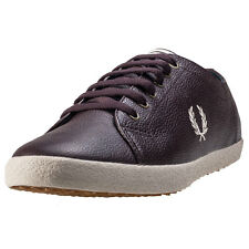 Fred Perry Kingston Scotchgrain Mens Trainers Oxblood New Shoes