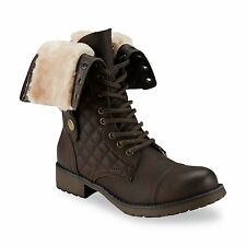New Womens SM New York Fireside Combat Boot Style 22788 Brown 77W lr