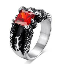Vintage Dragon Claws Stainless Steel Mens Ring Red Jewelry Gothic Steampunk Band