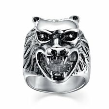 Retro Silver Wolf Head Stainless Steel New Ring Jewelry Gothic Steampunk Band