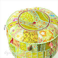 """22 X 12"""" Green Patchwork Round Pouf Pouffe Ottoman Cover Floor Seating Bohemian"""
