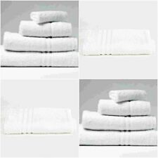 LUXURY HOTEL QUALITY 450GSM WHITE HAND BATH TOWEL SHEET 3 PIECES BALE SET