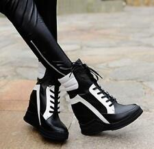 Womens Ladies Lace-Up Sneakers Lace Up High Wedge Heels Sports Shoes Size 35-43@