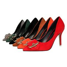 Shallow Pointed Toe Pump Work OL High Heel Buckle Stiletto Solid New Women Shoes