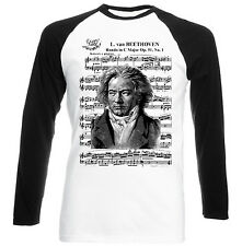 LUDVIG VAN BEETHOVEN 1.- NEW GRAPHIC BLACK SLEEVED BASEBALL T-SHIRT S-M-L-XL-XXL