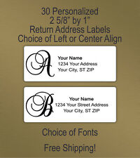 30 Personalized Printed Peel & Stick Monogram Return Address Labels ~ Script 1