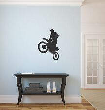 Motorcycle motocross stunt dirt bike vinyl wall silhouette sticker decal #22 DIY