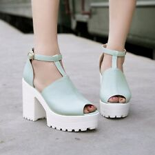 HOT SALE Womens Ankle Chunky High Heel Platform T-Strap Mary Jane Peep Toe Shoes