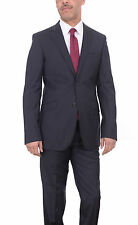 Mens Extra Slim Fit Navy Blue Pinstriped Two Button Reda Wool Suit