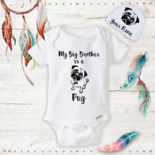 Big Brother or Sister is a Pug Clothes Onesies & Hat Baby Shower Gift Set Unisex