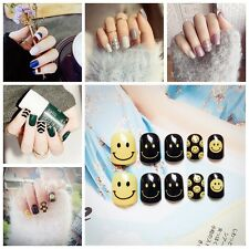 New 24PCS French 3D Matte Art Fake Short False Nails Full Tips Sticker With Glue