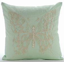 Minty Butterfly - Green 35x35 cm Cotton Linen Cushions Covers For Couch