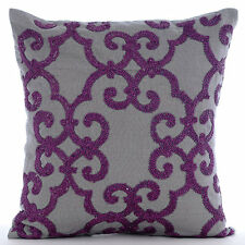 Beaded Purple Damask Grey Cotton Linen 65x65 cm Euro Sham - Orchid Moment