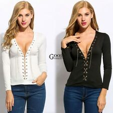Women Fashion Sexy Deep V Neck Long Sleeve Solid Slim Lace-up T-Shirts TXGT01