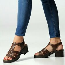 SEVEN DIALS MADE IN ITALY BROWN LEATHER CAGED CHUNKY HEEL COMFORTABLE SANDALS
