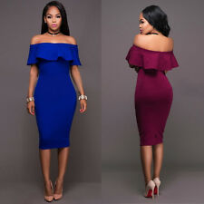 Sexy Women Lotus Leaf Off Shoulder Slim Bodycon Party Evening Cocktail Dresses