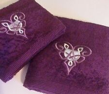 Embroidered Towels, Hand and Bath Towels, Celtic Hearts, Luxury Towels