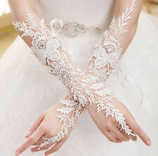 New Crystal White Lace Bridal Glove Wedding Party Pageant Long Gloves Fingerless