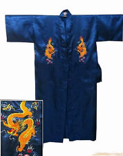 Embroidery Dragon Chinese Silk Men's Bathrobe Kimono Robe Gown S M L XL XXL