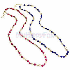 Lucky Brand Hammered Gold Tone Red & Blue Coin Bead Strand Necklace