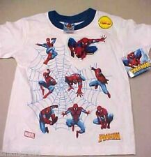 NWT Youth Marvel Multiple Spiderman Figures White T Shirt Size 7