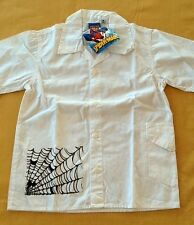 NWT Youth Marvel Spiderman & Black Web White Button Up Shirt Sizes Vary