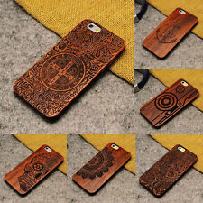 Luxury Solid Wood Wooden Bamboo Carved Patterned Case Cover For iPhone 7 Plus