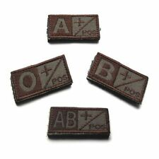 Army Blood Type A B O AB POS Embroidered Badge Hook Patch Tactics Armband Badge