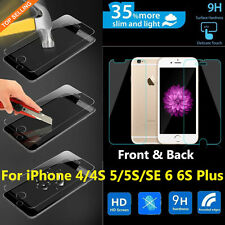 Genuine Front Back Tempered Glass Screen Protector Film For iPhone 5s 6 6s Plus