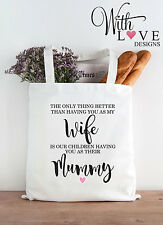 WIFE MUMMY MUM TOTE SHOPPER SHOPPING BAG GIFT PERSONALISED MOTHERS DAY BIRTHDAY