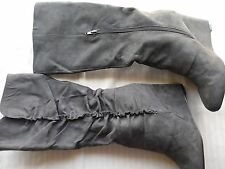 New Womens MIA Amore Adyson 55344 Black Suede Wedge Mid-Calf Boots (J358)