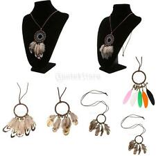 Bohemian American Native Dream Catcher Feather Leather Cord Pendant Necklace