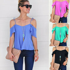 Summer Ladies Sexy Hot Short Sleeved Solid Color Off Shoulder Casual T-shirts H